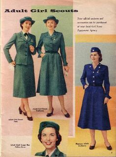 """Adult Girl Scout uniforms from 1955.  Designed by Mainbocher, there was a more """"formal"""" suit and a more """"everyday wear"""" dress.  The dress was also available in """"Mariner Blue"""" for leaders of Mariner Scout """"Ships"""" as their troops were known."""