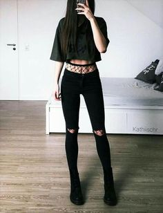 Graphic crop top with high-rise fishnet tights, distressed black jeans & Dr Mart. - Graphic crop top with high-rise fishnet tights, distressed black jeans & Dr Mart. Bad Girl Outfits, Edgy Outfits, Mode Outfits, Grunge Outfits, Outfits For Teens, Fashion Outfits, Black Outfit Edgy, Womens Fashion, Grunge Fashion