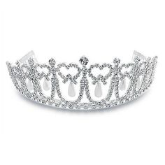 Bling Jewelry Rhinestone and Pearl Silver Princess Bridal Tiara Crown ($47) ❤ liked on Polyvore featuring jewelry, crowns, tiaras, accessories, hair accessories, clear and filler