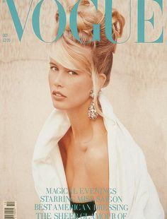 Vogue UK, October 1989 #cover | Claudia Schiffer by Herb Ritts #vintage #eighties #1980s