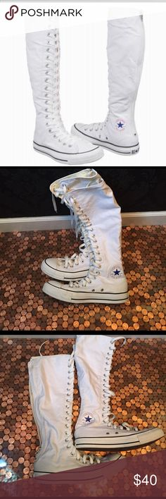 Authentic knee-high Chuck Taylor Converse shoes These are very rare! Tag even says patent pending. Men's size 6 women's size 8. Great condition! Up your tomboy style game! Converse Shoes