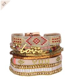 Manchette perles et métal Pinklucky Multico Hipanema prix promo Bijoux Monshowroom 70,00 €
