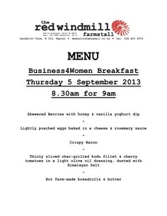 The Menu for our Breakfast at The Red Windmill on Thursday 5 September. All I can say is my mouth is watering!! Have you Booked yet?? Char Grill, 5th September, My Mouth, It Network, Poached Eggs, Poached Egg