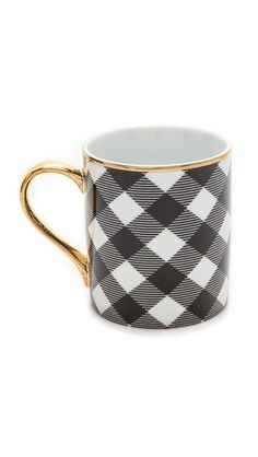 Black & White Buffalo Check Coffee Mug with Gold Trim