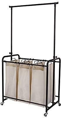 Mythinglogic Rolling Laundry Sorter With 3 Bags Heavy Duty Laundry Hamper Laundry Cart With Adjustable Hanging Bar Oil Rubbed Bronze Bag Heavy Laundry Hamper