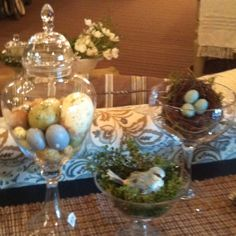 filled apothecary jars ideas | Apothecary jars, filled with eggs, nests, and greenery. Great for ...