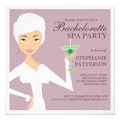 Modern Bride Bachelorette Spa Party Invitation, love this idea for a bachelorette party so much more than drinking, clubs and strippers!