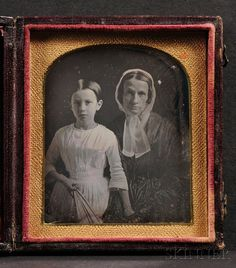Sixth Plate Daguerreotype Portrait of a Mother and Daughter