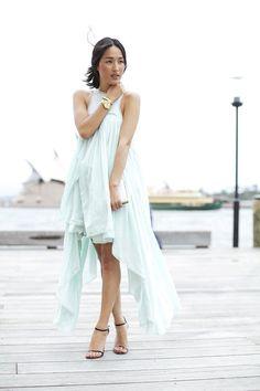 pale blue high-low dress