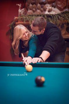 Billards JP Photography Couples, pool table, Seattle WA, Engagement, fun