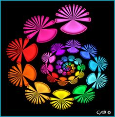 Decorative Fans- created and rendered in ChaosPro. #math#art