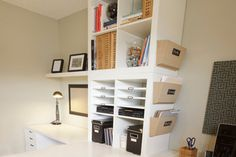 Work Space - traditional - home office - calgary - Niche Designs Inc. Ikea Office, Home Office Space, Home Office Design, Home Office Decor, Home Decor, Office Desk, Ikea Expedit, Expedit Regal, Home Storage Solutions