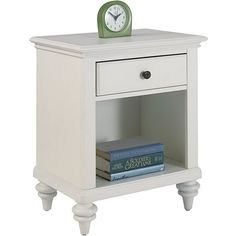 Home Styles Bermuda Night Stand Brushed White Finish ($133) ❤ liked on Polyvore featuring home, furniture, storage & shelves, nightstands, white, white shelving, white shelves, home styles furniture, white shelf and white bedside table