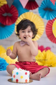 Red & Yellow Cake Smash Theme. Pre Birthday Photo Shoot. Shipra & Amit Chhabra Photography - Delhi NCR
