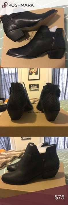 """Dr Scholl's Black Jonet Leather Bootie - size 8 Brand new in box. Sizzling with streetwise splendor, these cushioned booties feature a leather outer for durability and a modest heel height that puts just a pinch of posture in your step. 1.25"""" heel // slip on, hidden stretch goring // memory fit foam cushioned foot bed. Size 8 Dr. Scholl's Shoes Ankle Boots & Booties"""