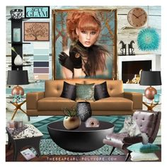 """""""Red Head Portrait #4"""" by theseapearl ❤ liked on Polyvore featuring interior, interiors, interior design, home, home decor, interior decorating, Joybird Furniture, Home Decorators Collection, LifeStyle Solutions and Kevin O'Brien"""