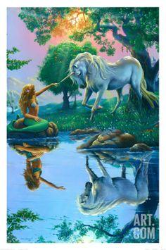 If I Were a Mermaid and You Were a Unicorn Art Print by Jim Warren at Art.com