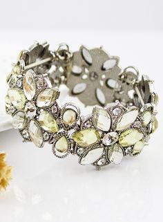 #SheInside Silver Crystal Flowers Bracelet - Sheinside.com