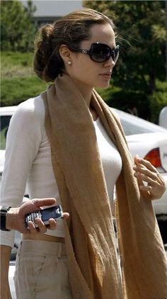 Angelina Jolie in cream and beige. I love her hair here too!