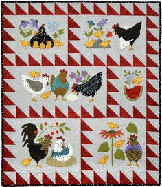 Bonnie Sullivan Woolies Flannel Here a Chick, There a Chick Quilt Kit Maywood Studi Quilt Block Patterns, Applique Patterns, Pattern Blocks, Quilt Blocks, Fabric Patterns, Wool Applique, Applique Quilts, Fox Quilt, Chicken Quilt
