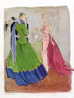 Christian Dior & Grès 1947 Evening Gown Bernard Blossac Fashion Illustration