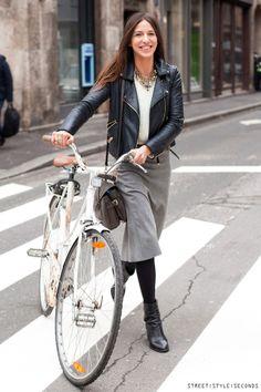 My City Cycling Uniform: a biker jacket, opaque tights, & a skirt