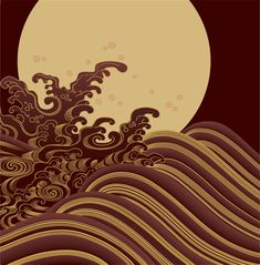 full moon and waves