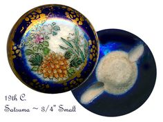 Button--Small Old Floral Satsuma Pottery with Cobalt Edge & Fancy Border