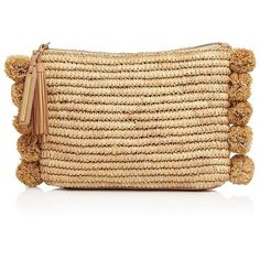 Loeffler Randall Tassel Raffia Pouch (47.500 HUF) ❤ liked on Polyvore featuring bags, handbags, clutches, natural, tassel handbag, tassel clutches, tassel purse, beige handbags and raffia purse