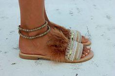 Sandalias de cuero hecho a mano deslice de sandalias