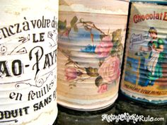 Upcycle your tin cans! Easy project with free graphics from TheGraphicsFairy.com. Tons of fab ideas here.