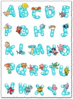 An alphabet of small water bubble with lots of sea creatures and funny looking sea animals that will appeal especially to little children. Bubble alphabet