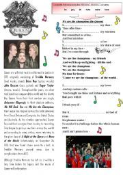 English worksheet: We are the champions queen song present perfect