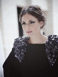 Olivia Palermo - up-do and sequin embellished shoulders.