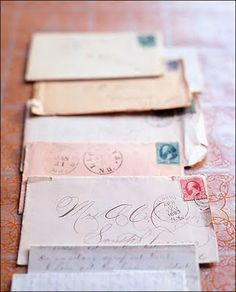 Old letters. Don't see much of this anymore. I remember the stamp used to be 5 cents.