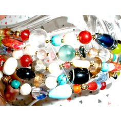 8.25 Inch CHUNKY BEADED BRACELET, Multi Strand Colorful Beaded... ($39) ❤ liked on Polyvore featuring jewelry and bracelets