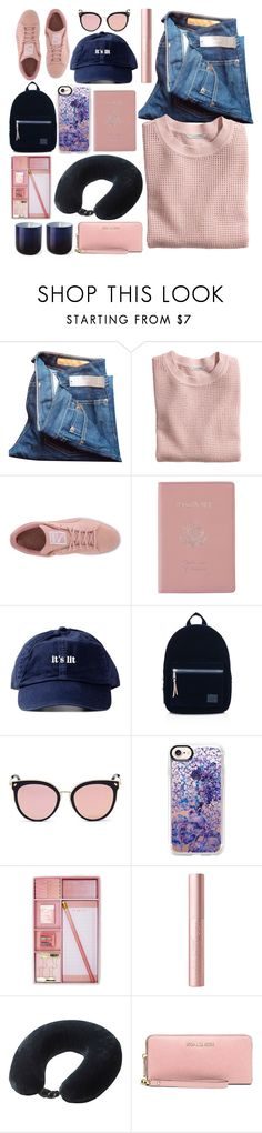 """""""0.00.052"""" by estrellica ❤ liked on Polyvore featuring J.Crew, H&M, Puma, Royce Leather, Herschel Supply Co., Stephane + Christian, Casetify, Forever 21, Lewis N. Clark and MICHAEL Michael Kors"""