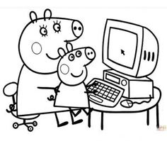Printable Peppa Pig Coloring Pages. Have a Joy with Peppa Pig Coloring Pages. Do your children like to color pictures? If they do, the Peppa pig coloring pages Online Coloring Pages, Cool Coloring Pages, Printable Coloring Pages, Adult Coloring Pages, Coloring Pages For Kids, Coloring Books, Coloring Sheets, Kids Coloring, Peppa Pig Coloring Pages