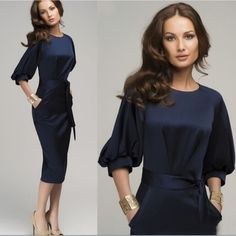 """NWT navy 3/4 sleeve dress with pockets (S) Polyester blend. Fabric has a little bit of stretch to it. Concealed zip up the side. Gorgeous! Approx 14"""" across bust, 12"""" across waist and 33"""" long. Boutique Dresses Long Sleeve"""