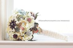 Brooch Bouquet Vintage Wedding Lace pearl button by Rusticcreek
