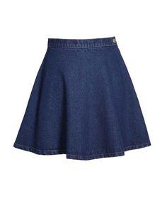 Denim Mini Skater Skirt in Vintage Blue Wash