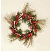 Found it at Wayfair - Pine Wreath with Weatherproof Berry/Birch Bark