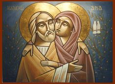 Today, July the Church honors the parents of the Blessed Virgin Mary, Saint Joachim and Saint Ann. Religious Icons, Religious Art, Religion, Russian Icons, Santa Ana, St Anne, Jesus Is Lord, Jesus Christ, Blessed Virgin Mary