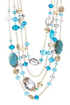 Blue Stone & Glass Necklace <3 - THIS WOULD BE EASY TO MAKE