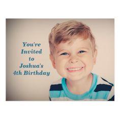 #photo - #Custom Photo Kids Birthday Party Boy Blue Postcard