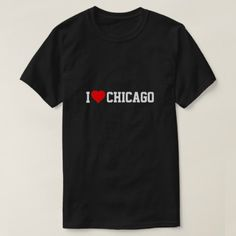 I Love Chicago Red Heart M Black T-Shirt - red gifts color style cyo diy personalize unique
