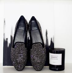 Seriously can't wait to wear them!    STUART WEITZMAN slippers (here). BYREDO candle.      You might also like:  New in: patent loafers  details  details  Details: print + metal  streets