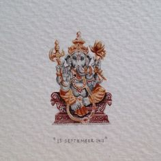 """Day 265 : """"Ganesha is widely revered as the remover of obstacles, the patron of arts and sciences and the deva of intellect and wisdom. As the god of beginnings, he is honoured at the start of rituals and ceremonies."""" - Wikipedia. 20 x 30 mm. #365paintingsforants #miniature #watercolour #ganesha #hindu #deity (at Shimla)"""