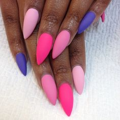 nails stilleto colorful