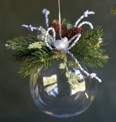 never thought of using the clear, blank ornaments and then just decorate top.love the polished elegance! will have to make for florida friendsLove the polished elegance! Could be done as shabby chic by changing colors.These would be pretty with some Clear Ornaments, Diy Christmas Ornaments, Christmas Projects, Handmade Christmas, Holiday Crafts, Christmas Holidays, Christmas Wreaths, Christmas Decorations, Ball Ornaments
